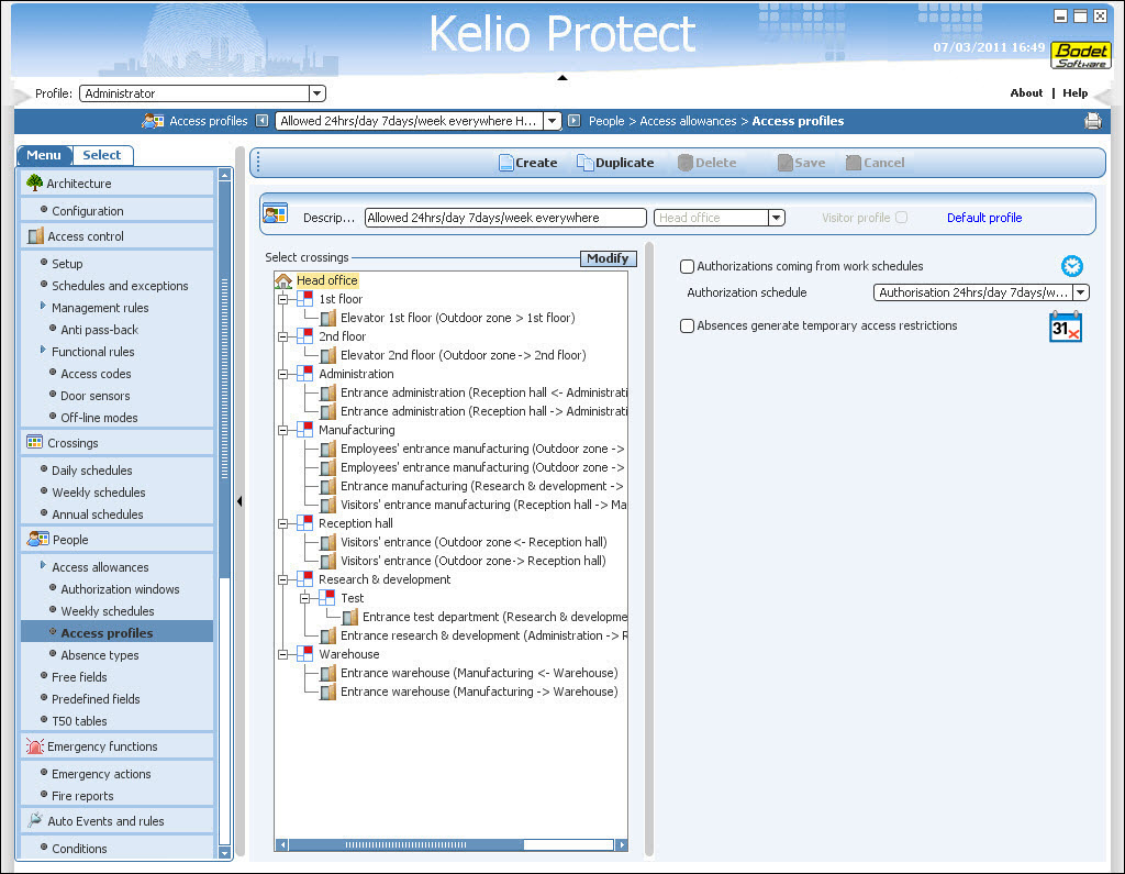 Kelio-Protect-access-profile